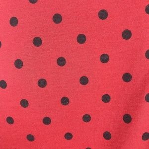 J. Peterman Dresses - J. Peterman Dress Red Black Polka Dot Ruched Midi